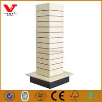 Super quality slatwall spinning fixture, mdf wooden slat board display