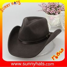 Brown 100% Wool Felt Mexico Cowboy Hat Simple Decorate Leather Wholesale In Factory