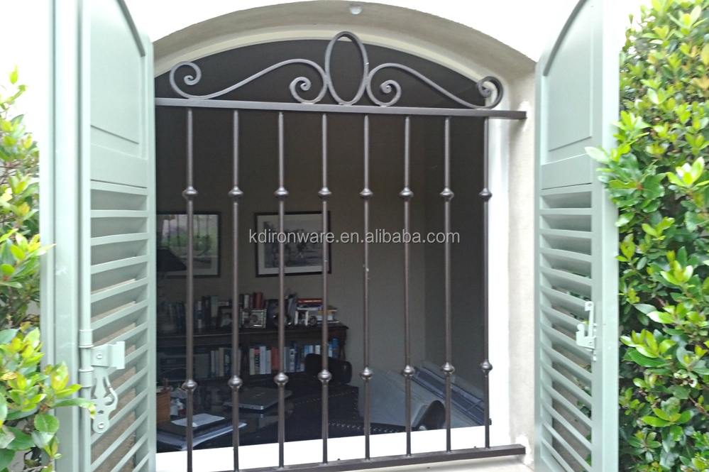Simple modern french house wrought iron metal window grill for Window design for house in india