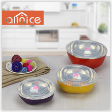 #201 colorful Food Storage Container-3 Stackable Round Plastic Bowls wtih Airtight Lid,And Locking Clip 3pcs set in color box