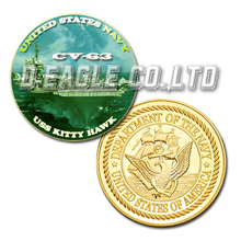 USS Kitty Hawk CV-63 Color Printed Gold Souvenir/ Custom Challenge Coin/ Custom Coin