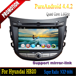 Hot selling Android 4.4.2 Quad Core 2 din 7 inch car dvd player GPS navigation for Hyundai HB20
