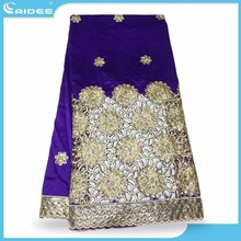 Hottest Selling African George Lace Fabric Online Fashion Silk Material On Promotoin Purple+Gold Gr1507907