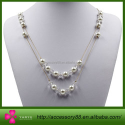 New Women Fashion Double Gold Metal Chains Pearl Crystal artificial pearl necklace