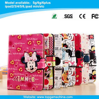 book style leather case for mickey mouse ipad mini case