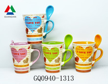 260ml decal print coffee mug and spoon love design for gift