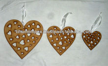 Heart Shaped Wooden Christmas Hangings
