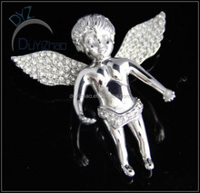 fashion crystal paved pendent stainless steel angle pendent