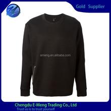 Personnalisé coton blanc plaine / polyester mens hoodies avec poche à fermeture éclair