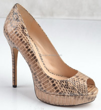 Sexy Python print leather stiletto heels platform pump shoes woman