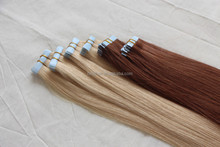 China wholesale alibaba 2015 new products double drawn skin hair extension colorful cheap PU tape curly hair extensions