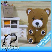 Fashion 2013 new designer silicone 3D bear case for iphone 4