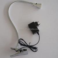 3w 220v Chrome swing arm office use led clip light with plug