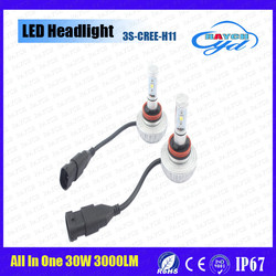 Auto parts 3s fanless all in one 9005 9006 h4 h7 h11 led headlight motorcycle
