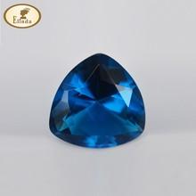 2015 Wuzhou newest fat triangle blue glass gems for crafts