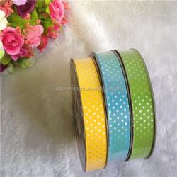Dots Printed Colorful Flora Satin Ribbon - 100 yards