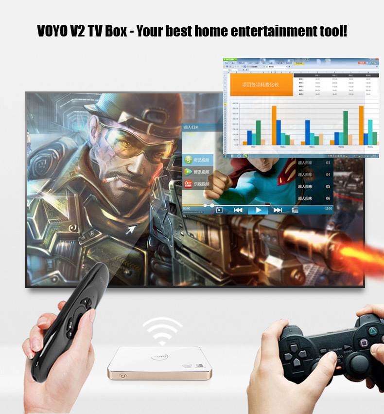 New Arrival VOYO V2 TV BOX Windows10 Mini PC Intel Baytrail T Z3735F Quad Core 2GB RAM 32GB ROM 1080P OTG