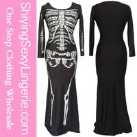 Wholesale six movie Long Skeleton Dress Adult Halloween Costume