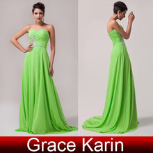 Grace Karin Elegant Embroidery Sleeveless Beadings Chiffon Floor-Length Real Pictures of Evening Dresses CL4505