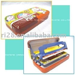 multifunction tin pencil case with folded inner trays