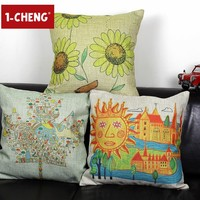 Naive Face Painting Printed Cotton Cushion Cover Body Pillow Chair Seat Cushion Children Room Decorative Pillow Case