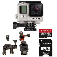 GoPro HERO4 BLACK Edition + ATV/Bike/ Vented Helmet Mount + 64GB Top Value Kit