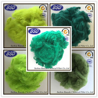 green polyester staple fiber, colored PSF, pet bottles recycle polyester staple fiber