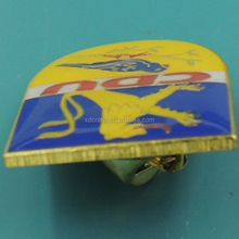 iron lion enamel gold lapel pin with butterfly clutch