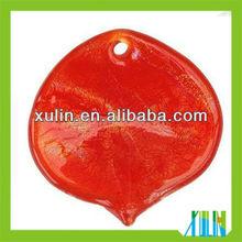 2013 new product orange leaf shaped dichroic beads pendants