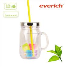 Food grade wholesale price plastic coffee tumbler with handles