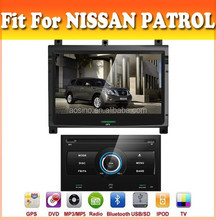 Touch sreen car dvd player with GPS navigation fit for Patrol 2012 with audio radio bluetooth ipod tv and two panel