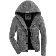 15ASW1050 Acrylic with lining hoodied winter cardigan sweater men