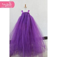 Age 2-11 Years/Kids Girls Princess Party Suspender Solid Lace Dresses PURPLE