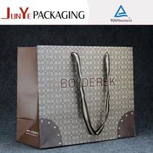 Flat handle oem production customized luxury shopping paper bag