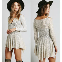 High quality asymmetric hem fashion woman cream lace dress long sleeve tie front dress