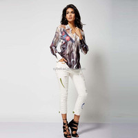 2015 fashion new design printing long sleeve cotton girl blouse
