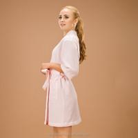 pink single layer waffle robe design as japanses pajamas kimono robe causal style for women