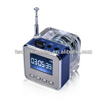 LED Crystal Mini Speaker MP3/4 Music Player support Micro SD/TF USB Disk FM Radio LCD Display(STD-C1)