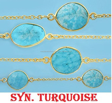 Gold Plated Bezel Station Gemstone Connector Chain with Syn. Turquoise