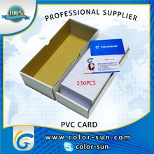 Glossy inkjet blank pvc card/inkjet printable pvc card 86mm x 54mm x0.76mm for Epson T50 P50 A50 L800 R290 R230 ; 230pcs/lot