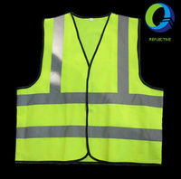 100% polyester knitted Hi Vis fluorescent yellow reflective safety Vest reflective tape for adult