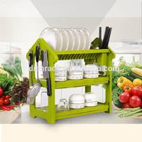 2015 New Product Kitchen Accessories Green Unique Plastic Dish Rack