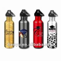 Colorful stainless steel sports bottle with screw cap & carabiner