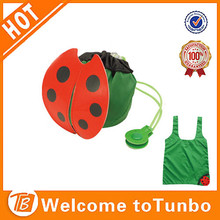 Eco ladybug shape 190T polyester cute shop bags,fancy collapsible shopping bag