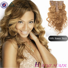 Top grade remy no shed no tangle clip in remy hair extensions 7 piece