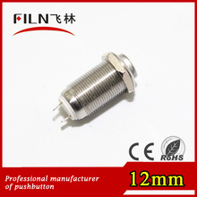 CE approved 12mm high head stainless steel reset 1no 240v push button switch