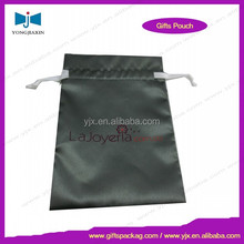 Factory wholesale custom silver satin bag/pouch with logo