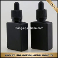 Free samples!!! 30ml frosted black bottles e-liquids square /rectangle bottles glass dropper bottles