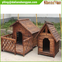 Wooden and natural style dog house with porch