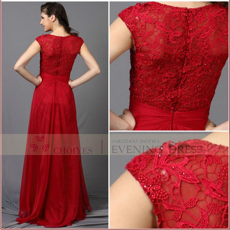 V , cou Sexy formelle perlée longue rouge dentelle robe de soirée